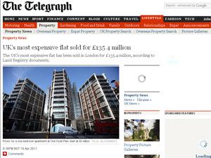 Apartamento em Londres é o mais caro do mundo (Foto: Reprodução/The Telegraph)