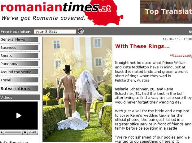 Rene Schachner usou apenas um chapéu, e a noiva Melanie, um véu. (Foto: Reprodução)