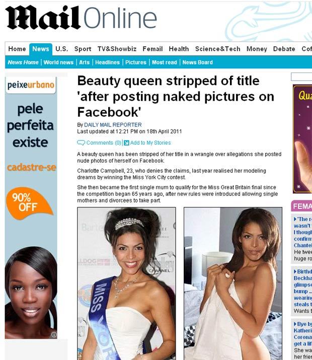 Charlotte Campbell perdeu o título de miss porque teria publicado fotos nua na internet. (Foto: Reprodução/Daily Mail)