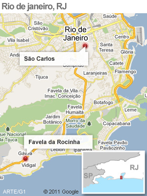 Mapa operação na Rocinha, no RJ (Foto: Arte G1)