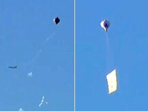 Pelo menos sete balões foram vistos nesta manhã no céu do Rio (Foto: Reprodução / TV Globo)