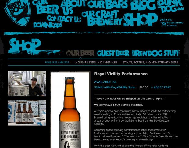 Página da cervejaria trocou a palavra 'Viagra' pela expressão 'herbal viagra' (algo como viagra de ervas) no anúncio da cerveja Royal Virility Performance (Foto: Reprodução)