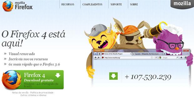 Firefox 4 atinge 100 milhões de download em um mês (Foto: Reprodução)
