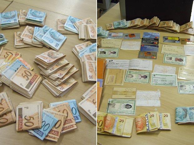 Dinheiro apreendido operação PF RJ (Foto: Thamine Leta / G1)