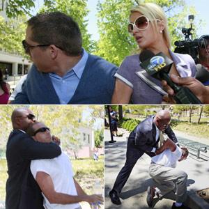 Homem é detido ao tentar agredir Cy Waits, namorado de Paris Hilton (Foto: Nick Ut/AP)