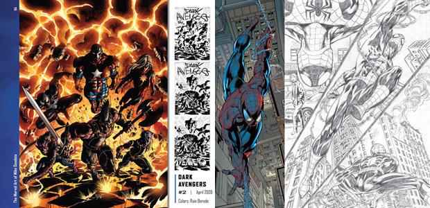 Páginas internas do livro 'The marvel art of Mike Deodato HC' revelam originais das séries 'Os Vingadores' e 'Homem-Aranha' (Foto: Divulgação/Marvel Comics)