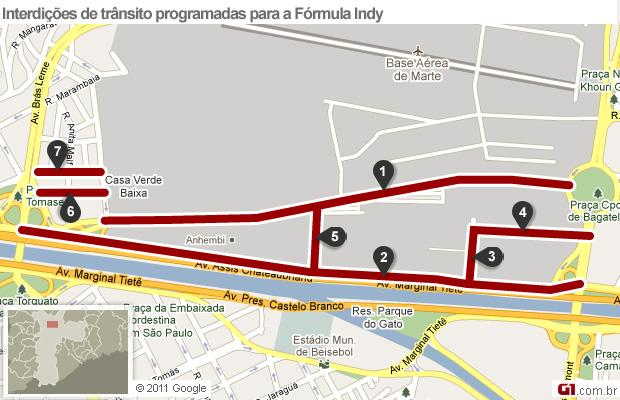 Confira as vias interditadas para a estapa de São Paulo da Fórmula Indy (Foto: Arte/ G1)