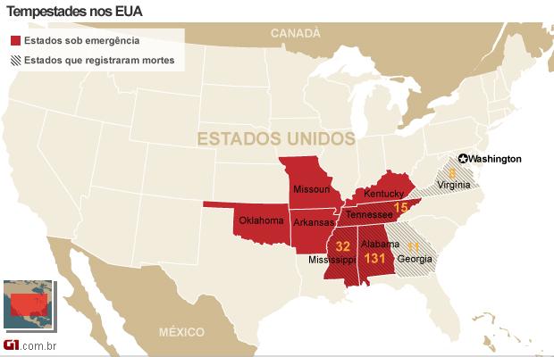 mapa tornado eua 2 (Foto: 1)