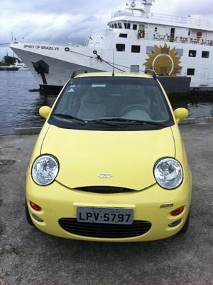 Chery QQ tem cores vivas e motor 1.1 a gasolina de 68 cv (Foto: Priscila Dal Poggetto/G1)