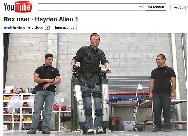 Exoesqueleto custa US$ 100 mil  (Foto: Reprodução/YouTube)
