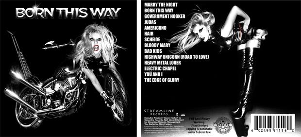 Detalhe da capa e contracapa do álbum 'Born this way', da cantora Lady Gaga. (Foto: Reprodução)