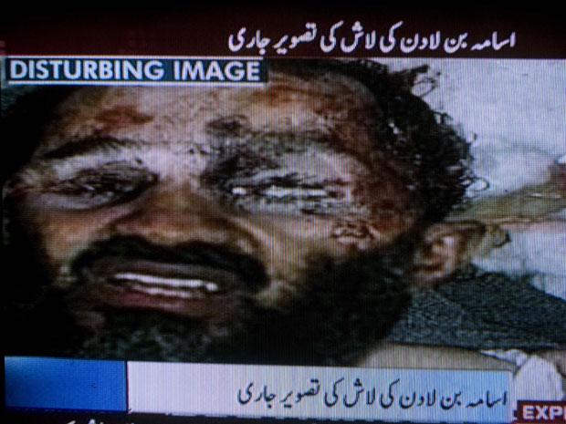 A imagem exibida por TVs paquistanesas nesta segunda (2) e atribuída a Osama bin Laden (Foto: Reprodução / AP)