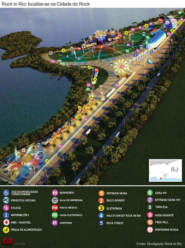 Mapa da Cidade do Rock (Foto: Arte G1)