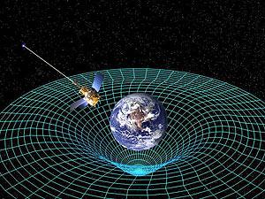 Ilustração mostra a sonda Gravity Probe B e a distorção no espaço tempo causada pela Terra (Foto: Nasa)