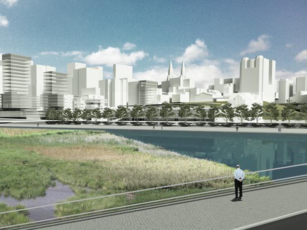 Lagoa que será construída na região do Parque Dom Pedro (Foto: Divulgação/Prefeitura de São Paulo)