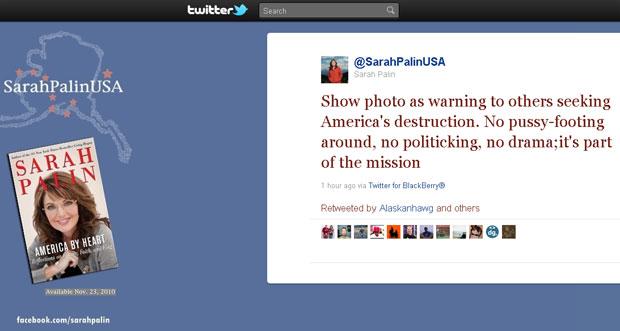 Comentário postado no microblog de Sarah Palin sobre o posicionamento de Obama (Foto: Reprodução/Internet)