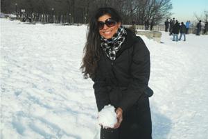 Fernanda está no Canadá e envia recado para a mãe Marilene (Foto: Fernanda Monturil Santos/VC no G1)