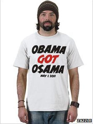 Modelo posa com camiseta com os dizeres 'Obama matou Osama' (Foto: Divulgação Zazzle)