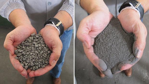 O tântalo-nióbio, produzido em Pitinga, pode ser vendido em pequenas pedras ou refinado (Foto: Laura Brentano/G1)