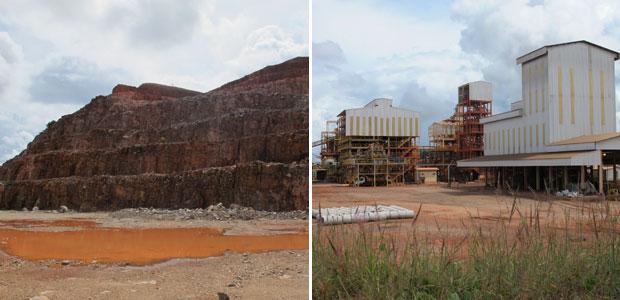 Rocha da onde o tântalo é extraído e usina onde ele é produzido (Foto: Laura Brentano/G1)