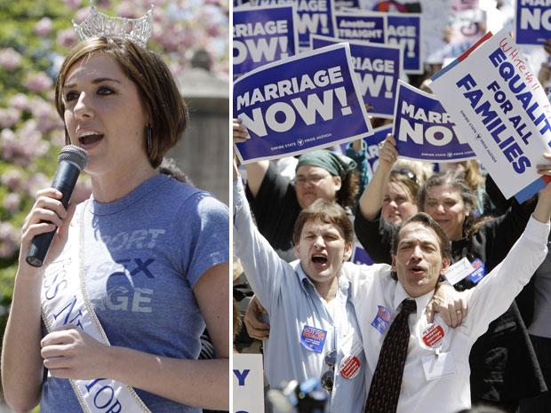 A miss Nova York, Claire Buffie, participou nesta segunda-feira (9) de uma manifestação em frente ao Capitólio da cidade de Albany, no interior de Nova York, reivindicando a legalização do casamento gay no estado. Claire tem uma irmã que é lésbica (Foto: AP)