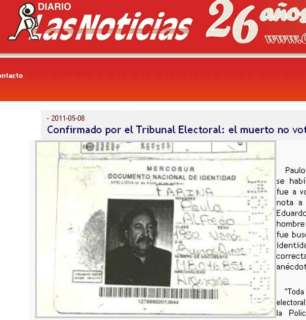 Paulo Alfredo Farina descobriu que estava registrado como morto ao tentar votar. (Foto: Reprodução)