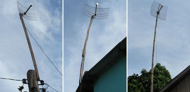 Acreanos inovaram na hora de montar antena. Usam madeira, estrado de cama e até bambu (Foto: Laura Brentano/G1)