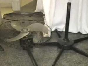Rapaz  tentou usar a haste de ventilador para agredir padre (Foto: Reprodução/TV Globo)