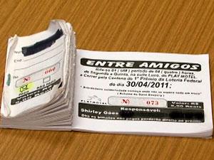 Bilhete de rifa vendida na Assembleia da Bahia (Foto: Reprodução/ TV Bahia)