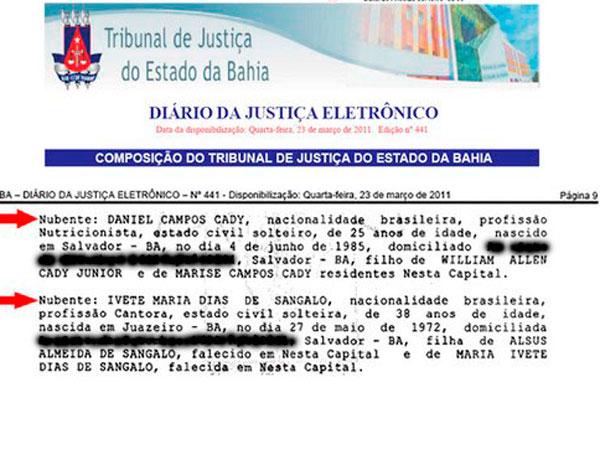Proclamas do casamento de Ivete divulgado em março (Foto: Reprodução/ Diário Oficial da Bahia)