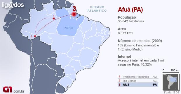 Afuá - mapa lig@dos (Foto: Editoria de Arte/G1)