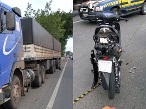 Motociclista morre em acidente com carreta na BR- 116 Sul, na Bahia (Foto: Divulgação/PRF)