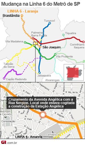 metrô estação angélica (Foto: Arte/G1)