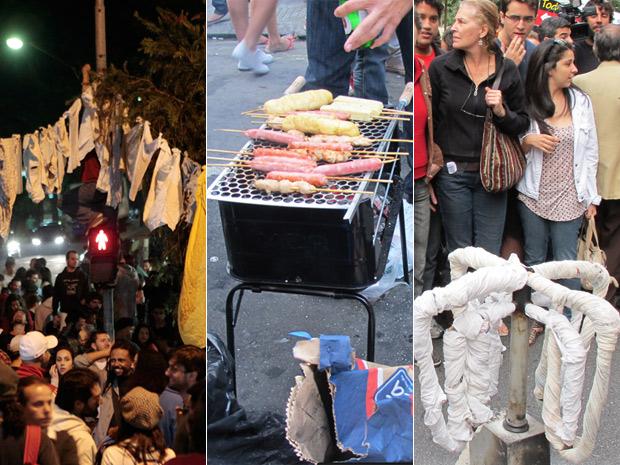 Protesto em Higienópolis (Foto: Roseane Aguirra/G1 Tiago Queiroz/AE)