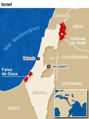 Mapa localiza pontos de confronto em Israel e nos terreitórios vizinhos (Foto: Arte/G1)