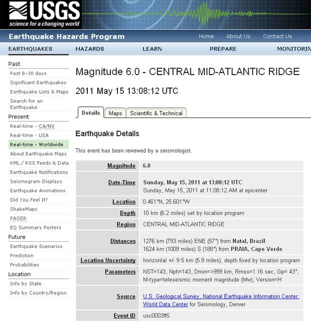 Terremoto Natal 1 (Foto: Reprodução / USGS)