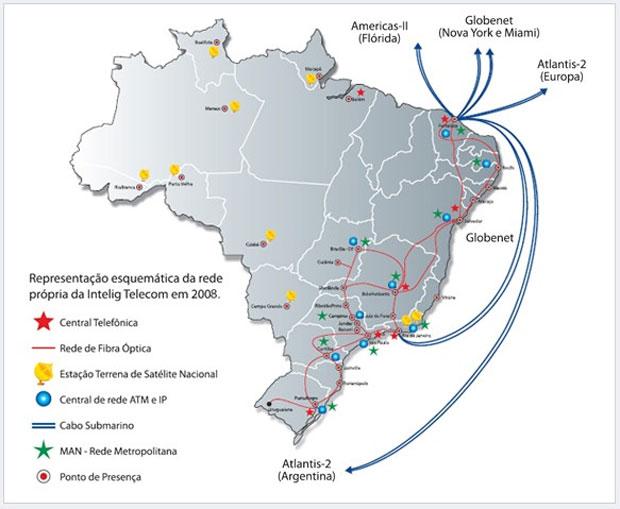 Mapa da Intelig mostra conexões da operadora no território do Brasil (Foto: Divulgação)