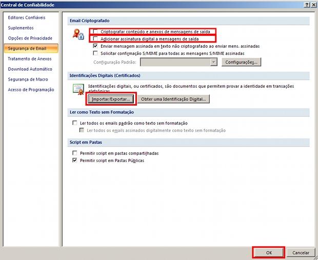 Adicionando certificado digital no Outlook 2007 (Foto: Reprodução)