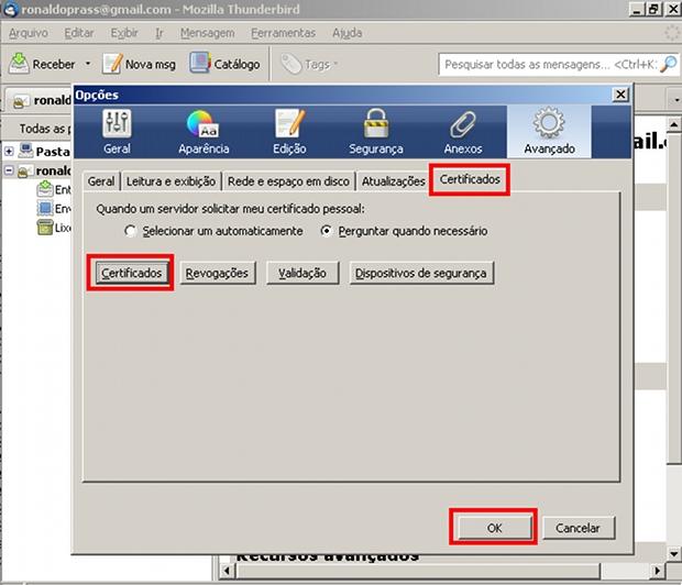 Adicionando certificado digital no Mozilla Thunderbird (Foto: Reprodução)
