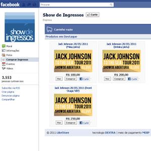 Loja virtual da Show de Ingressos no Facebook foi lançada nesta quarta (18) (Foto: Reprodução)