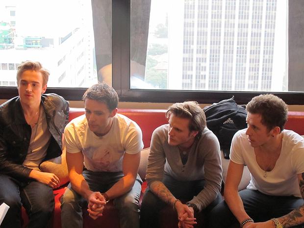 A banda McFly esteve em hotel de São Paulo para conversar com a imprensa (Foto: Braulio Lorentz/G1)