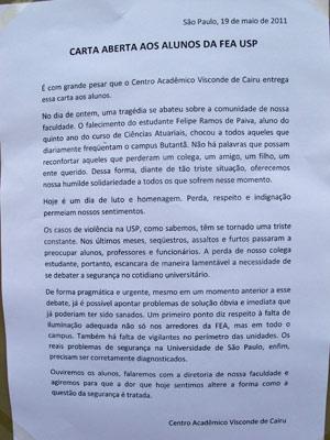 Carta aberta dos estudantes pede mais segurança no campus (Foto: Juliana Cardilli/G1)