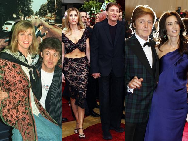 Paul McCartney com Linda, em 1993; Heather Mills, em 2002; e Nancy Shevell, em 2011 (Foto: AFP/AFP/Reuters)