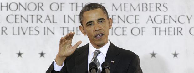 O presidente dos EUA, Barack Obama, discursa na sede da CIA, em Langley, na Virgínia, nesta sexta-feira (20) (Foto: AP)