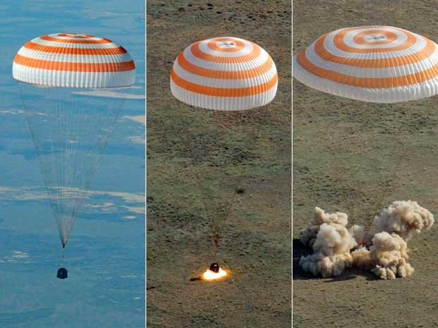 Cápsula russa Soyuz TMA-20, com três tripulantes, pousa em segurança no Cazaquistão. (Foto: Mikhail Metzel / AP Photo)