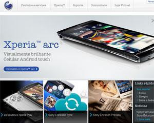Página da Sony Ericsson Mobile Communications nos Estados Unidos (Foto: Reprodução)