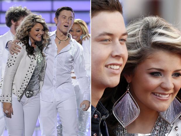 Os finalistas Scotty McCreery e Lauren Alaina no palco e pouco antes do começo do 'American idol' (Foto: AP/Matt Sayles)