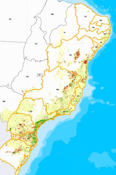 Mapa mostra em verde as áreas remanescentes de Mata Atlântica e em vermelho os pontos de desmatamento no período 2008-2010. (Foto: Divulgação)