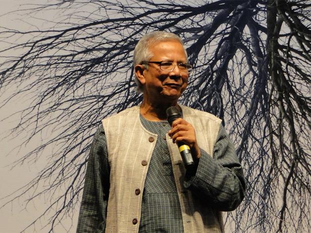 Muhammad Yunus faz palestra em Belo Horizonte nesta quinta-feira (26) (Foto: Alex Araújo/G1 MG)