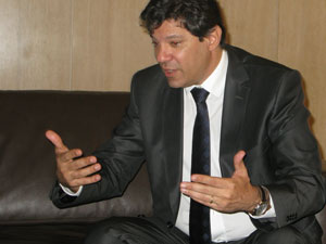 O ministro Fernando Haddad conversou com jornalistas em So Paulo nesta sexta-feira (27) (Foto: Vanessa Fajardo/G1)